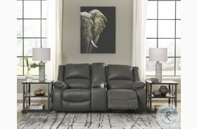 Calderwell Gray Double Reclining Power Loveseat with Console