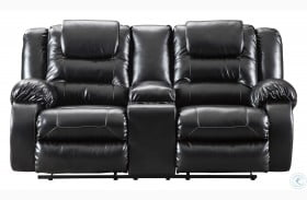 Vacherie Black Double Reclining Loveseat with Console