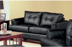 Samuel Black Leather Loveseat - 501682