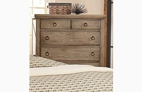 Whiskey Barrel Rustic Gray 5 Drawer Chest