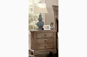 Whiskey Barrel Rustic Gray 2 Drawer Nightstand
