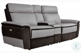 Laertes Two Tones Gray Leather Power Reclining Console Loveseat