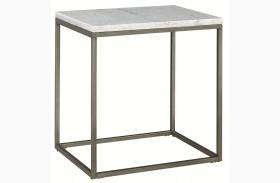 Alana Acacia Marble Top Rectangular End Table