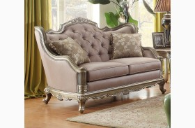 Fiorella Gold Faux Silk Loveseat