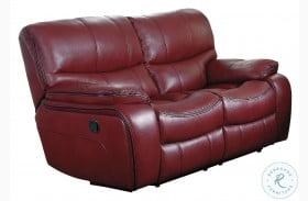 Pecos Red Finish Double Reclining Loveseat