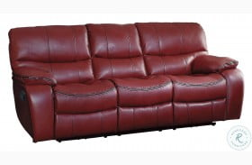Pecos Red Finish Double Reclining Sofa