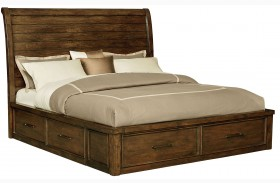 Cameron Burnished Tobacco Queen Sleigh Storage Bed