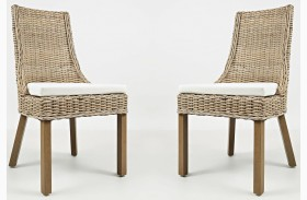 Hampton Road Transitional Rattan Cushion Dining Chair Set of 2