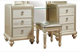 Diva Metallic Vanity Dresser with stool