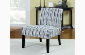Finley Blue/Beige Leaf Pattern Accent Chair
