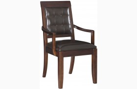 Tribecca Root Beer Upholstered Leather Arm Chair