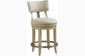 Malibu Cream Cliffside Swivel Upholstered Counter Height Stool By Barclay Butera