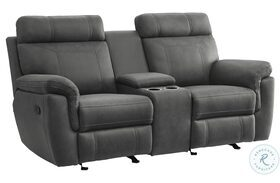Clifton Gray Double Glider Reclining Loveseat With Center Console