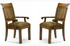 Larkspur Burnished Caramel Upholstered Back Arm Chair Set of 2