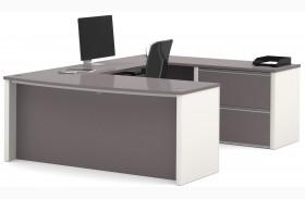 Connexion Slate & Sandstone U-Shaped Workstation with Oversized Small Pedestal