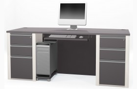 Connexion Slate & Sandstone Executive Desk With Two Pedestals