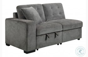 Logansport Gray LAF Loveseat With Pull-Out Ottoman And 1 Pillow
