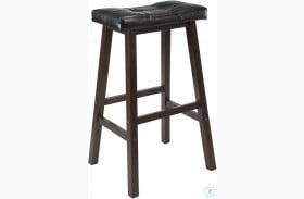 """Mona Black Upholstered Cushion Saddle Seat 29"""" Bar Stool"""