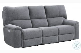 Dickinson Charcoal Power Double Reclining Sofa With Power Headrests