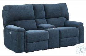 Dickinson Indigo Power Double Reclining Console Loveseat With Power Headrests