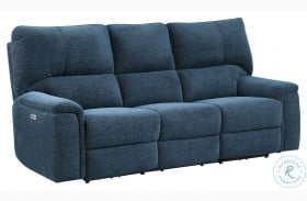 Dickinson Indigo Power Double Reclining Sofa With Power Headrests