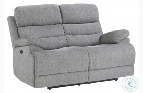 Sherbrook Gray Power Double Reclining Loveseat With Power Headrests