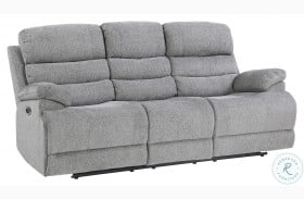Sherbrook Gray Power Double Reclining Sofa With Power Headrests