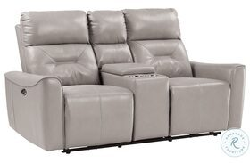 Burwell Light Gray Double Power Reclining Loveseat With Center Console