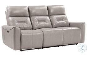 Burwell Light Gray Double Power Reclining Sofa