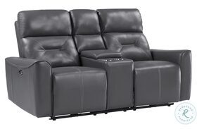Burwell Gray Double Power Reclining Loveseat With Center Console
