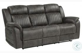 Centeroak Gray Double Reclining Sofa