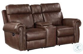 Granville Brown Double Power Reclining Loveseat With Center Console