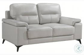 Mischa Silver Gray Leather Loveseat