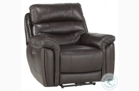 Lance Brown Leather Power Recliner With Power Headrest