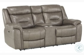 Danio Brownish Gray Leather Kennett Power Double Reclining Loveseat With Console And Power Headrests
