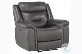 Danio Dark Gray Leather Kennett Power Reclining Chair With Power Headrest