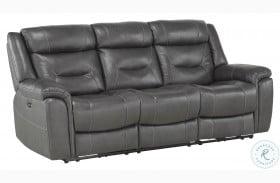 Danio Dark Gray Kennett Power Double Reclining Sofa With Power Headrest