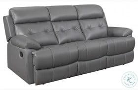 Lambent Dark Gray Leather Double Reclining Sofa