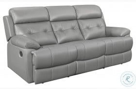 Lambent Gray Leather Double Reclining Sofa