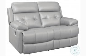 Lambent Silver Gray Leather Double Reclining Loveseat