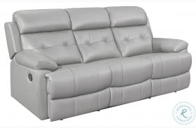 Lambent Silver Gray Leather Double Reclining Sofa