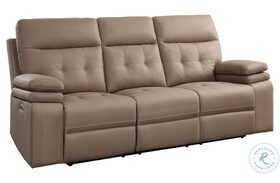Millington Brown Power Double Reclining Sofa With Power Headrests