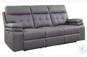 Millington Gray Power Double Reclining Sofa With Power Headrests