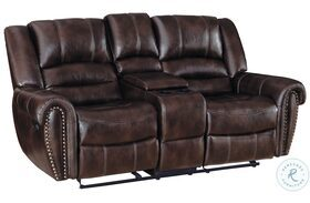 Center Hill Dark Brown Double Glider Reclining Loveseat With Console
