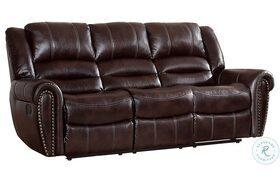Center Hill Dark Brown Double Reclining Sofa