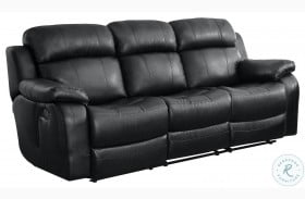 Marille Black Double Reclining Sofa with Center Drop-Down Cup Holders