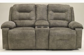 Rotation Smoke Double Reclining Loveseat with Console