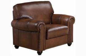 Royale Camel Brown Leather Arm Chair