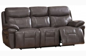 Summerlands Smoke Grey Leather Reclining Sofa