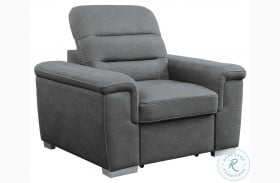 Alfio Gray Chair With Pull Out Ottoman